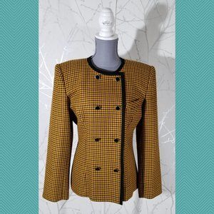 Kasper for ASL Vtg Yellow Houndstooth Tweed Jacket